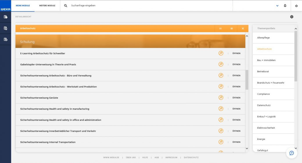Screenshot WEKA Business Portal Modulübersicht Liste