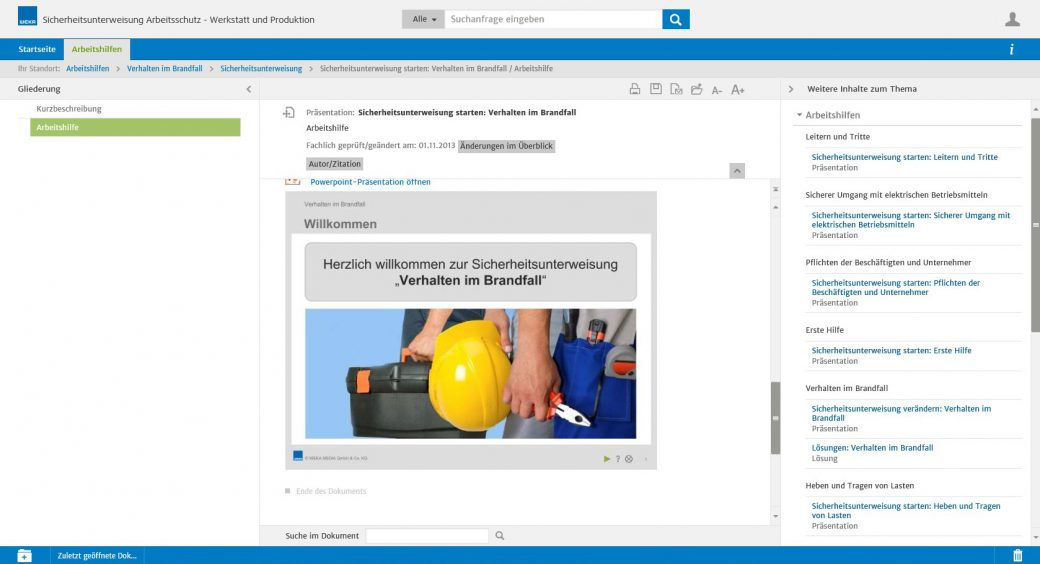 Screenshot WEKA Business Portal Unterweisung